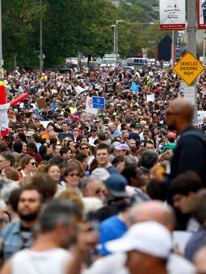 Thousands of counter protesters gather on Malcolm X Blvd. in Roxbury before marching to a planned 'Free Speech Rally' on Boston Common on Aug. 19 in Boston Massachusetts.