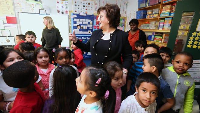 State Education Commissioner MaryEllen Elia visits a kindergarten class at Kakiat Elementary School Feb. 10, 2016.