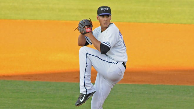 Robert Stephenson pitches Wednesday before leaving his start at Louisville Slugger Field.