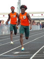 Dunbar's Seneca Milledge wons the 100-meter dash at the Wolfpack Invitational on Saturday at South Fort Myers.