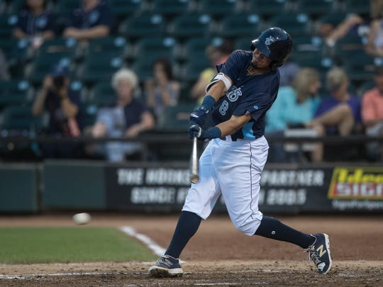 Hooks' Josh Rojas hits a single during the fourth inning of their game against the San Antonio Missions at Whataburger Field on Tuesday, May 15, 2018.