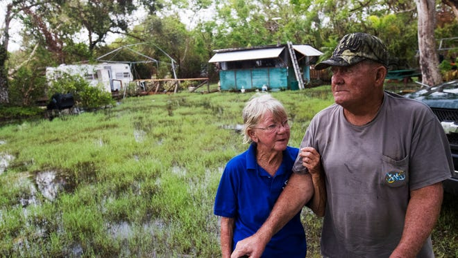 "Carol and Dave Balmon, of Pinecrest, Florida off of Loop Road in the Big Cypress National Preserve rode out Hurricane Irma in the kitchen and small camper behind them. Both have been through several hurricanes, but Carol is still rattled almost month later and says its the worst she has experienced. Dave is a lifelong Floridian and says ""I've been there done that and I have the t-shirt to prove it."""