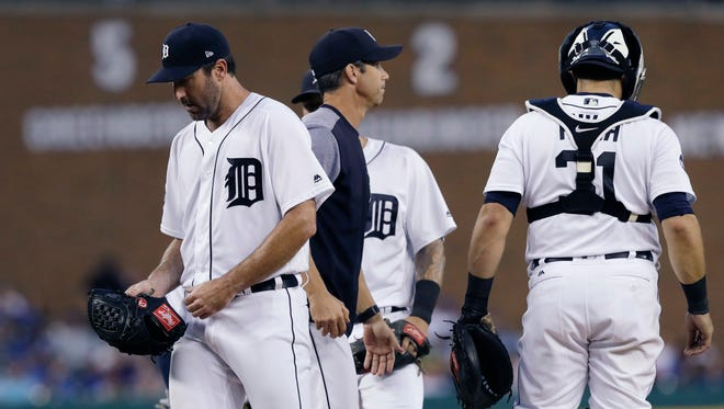Tigers pitcher Justin Verlander is removed during the sixth inning on Friday, July 14, 2017, at Comerica Park.