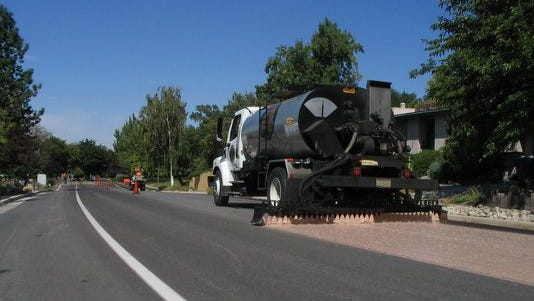 Reclamite is applied by truck in a photo supplied by the product's manufacturer.