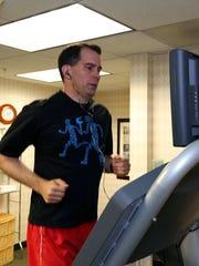 Scott Walker on the treadmill before Wednesday night's Republican debate.