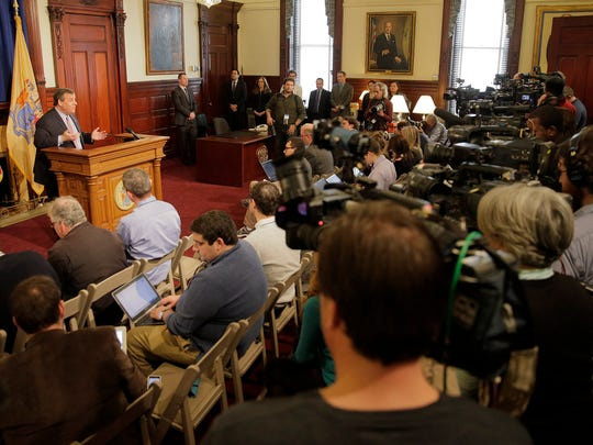 New Jersey Governor Chris Christie holds a nearly two hour press conference in his Statehouse office in Trenton, NJ, Thursday, March 3, 2016.  What was going through Christie's mind standing behing Presidental candidate Donald Trump was among the topics discussed.
