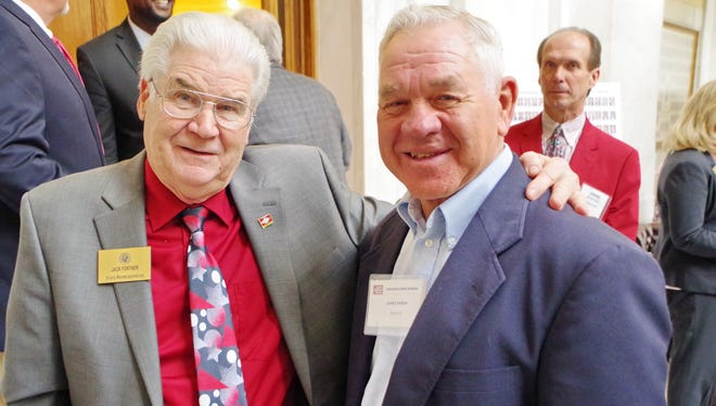 State Representative Jack Fortner (left) visited with Baxter County Farm Bureau member James Rhein of Mountain Home during Arkansas Farm Bureau's Farmers' Day at the Capitol earlier this month in Little Rock. Arkansas Farm Bureau sponsored the activity to raise awareness of legislative issues affecting Arkansas agriculture.