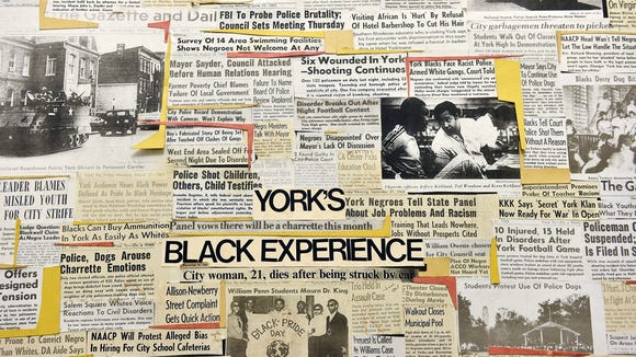 A mix of newspaper headlines and story briefs dating from the late 1960s and early 1970s chronicles a slice of York's black history in a collage shown at the York County History Center.