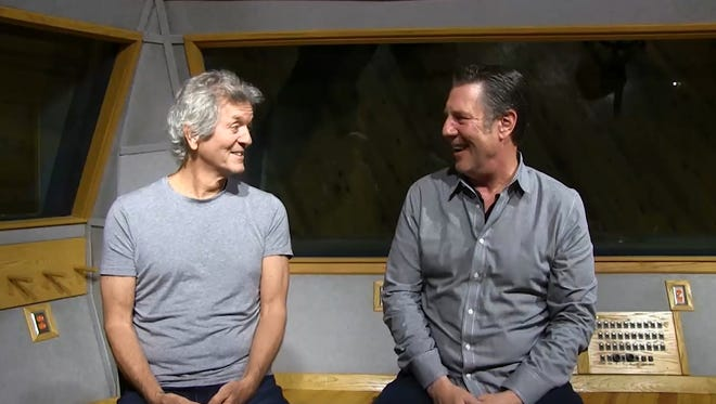 Rodney Crowell, left, speaks to Bart Herbison about songwriting.