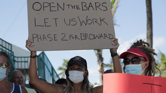 "People hold signs during a ""Right to Work"" rally outside of Ft. Lauderdale's Elbo Room bar, which remains closed, during the new coronavirus pandemic, on Tuesday. Due to the recent surge in COVID-19 cases, some mayors are considering tightening restrictions on places where younger folks gather."
