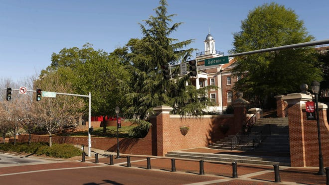 The intersection of Sanford Drive and Baldwin Street on the campus of the University of Georgia in Athens.