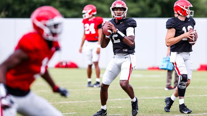 Georgia quarterback D'Wan Mathis (2) during the Bulldogs' practice session in Athens, Ga., on Monday, Sept. 21, 2020.