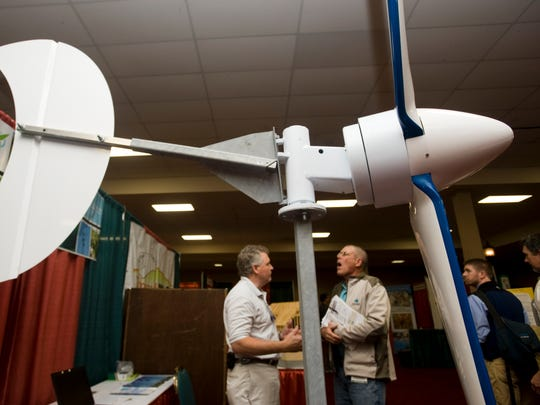 A wind turbine attracts conference-goers to the Xzeres