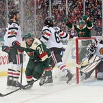 Minnesota Wild forward Jason Pominville (29) celebrates his goal in the second period against the Chicago Blackhawks during a Stadium Series hockey game at TCF Bank Stadium.