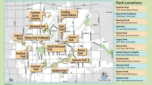 Map of 2016 Big Sioux River Cleanup park locations.