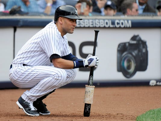 428a2730c1418 New York Yankees' Derek Jeter waits to bat during the fifth inning of a  baseball