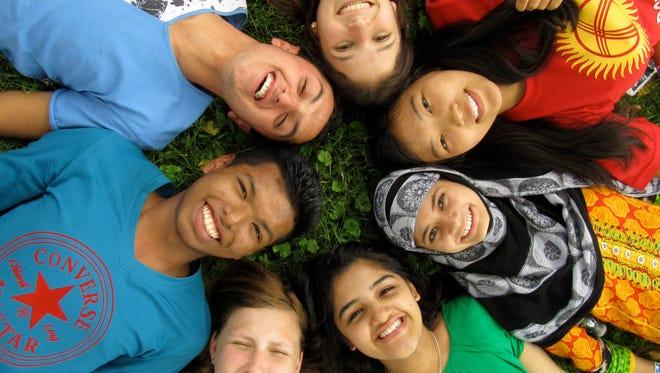 High school exchange students in Ohio from Venezuela, Kyrgyzstan, India, Pakistan, Suriname, and Tajikistan.