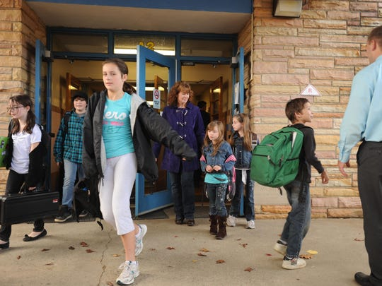 Students flood out of Paradise Knoll Elementary School