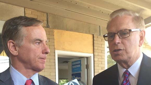Former Vermont Gov. Howard Dean, left, and former Ohio Gov. Ted Strickland talk about presumptive GOP presidential nominee Donald Trump before the Republican National Convention.