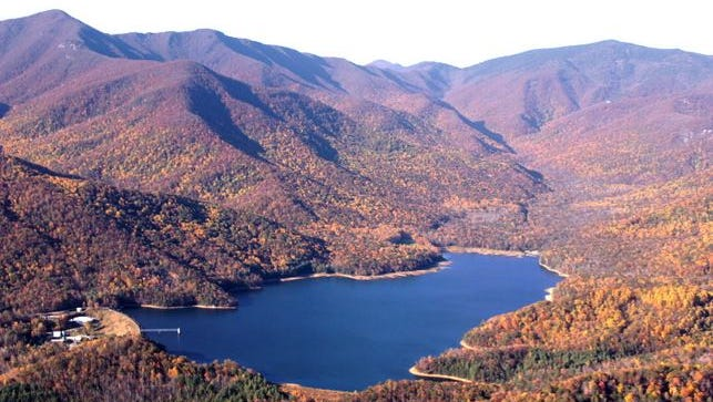 An aerial view of Asheville's North Fork Reservoir, located outside the town of Black Mountain.