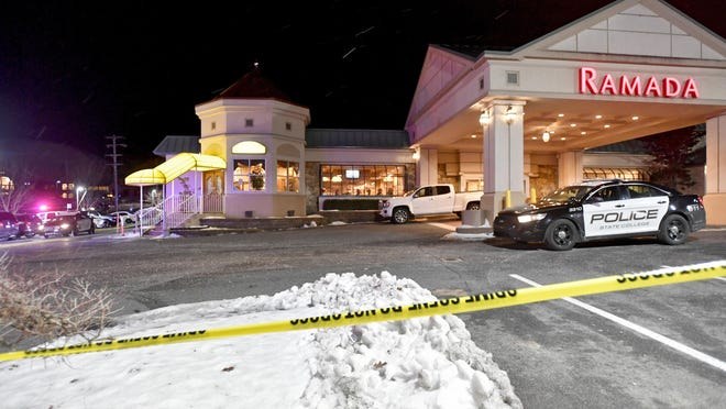 State College Police respond to a shooting at P.J. Harrigan's Bar & Grill at the Ramada Inn on Jan. 24, 2019, in State College, Pa.