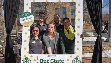 Members of the Presidential Ambassadors organization gather in the CSU Plaza of the main campus to help celebrate CSU's 146th anniversary.  From left to right: Janisa Garcia, Evan Siebenmorgen, Lauren Markham, Caleb Schroder and Lisbel Torres.