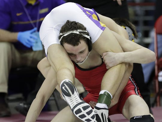 SPASH graduate Brady Koontz, bottom, has experienced success at every level of his wrestling career. He earned back-to-back berths in WIAA state championship matches, bringing home a Division I title as a junior in 2016. Dan Powers/USA TODAY NETWORK-Wisconsin