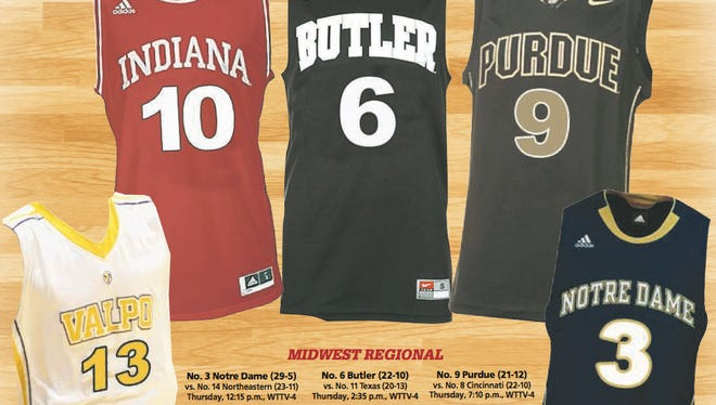 Valpo, IU, Butler, Purdue and Notre Dame all will appear in the Midwest Regional of the NCAA Tournament.