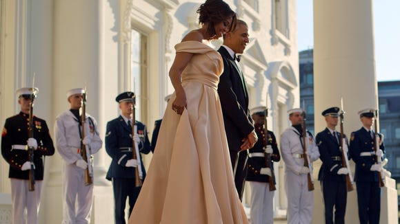 Mrs. Obama last wore a Naeem Khan gown at the state