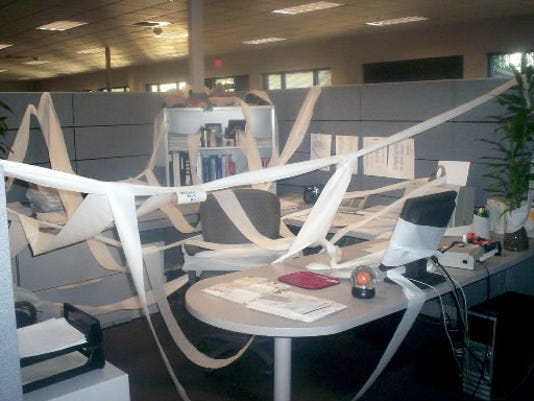This submitted photo from 2007 shows an office prank in the accounting department of The Stewart Companies.