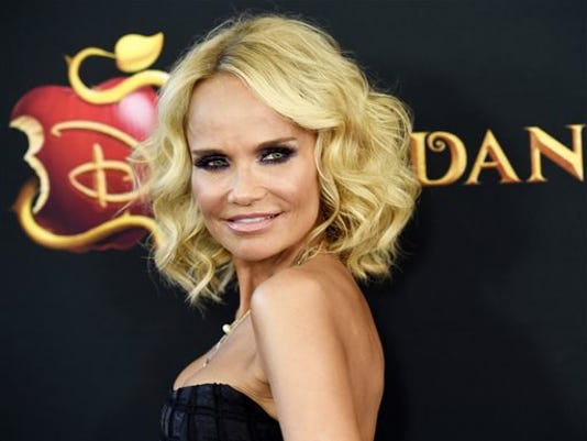 """FILE - In this July 24, 2015 file photo, Kristin Chenoweth, a cast member in """"Descendants,"""" poses at the premiere of the film in Burbank, Calif."""