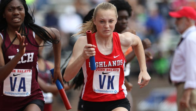Kyla Krawczyk of Northern Highlands runs the third leg of the 4-x-400 at the Penn Relays in Philadelphia. Krawczyk ran her lap in 58.9 and Northern Highlands won their heat with a time of 3:57.88 Thursday 27, 2017.