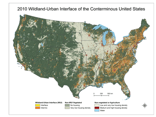 The wildland-urban interface of the Lower 48 states,