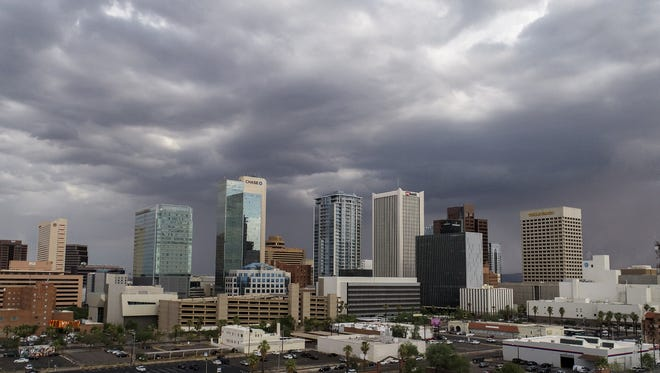 A monsoon storm approaches Phoenix on July 10, 2018.