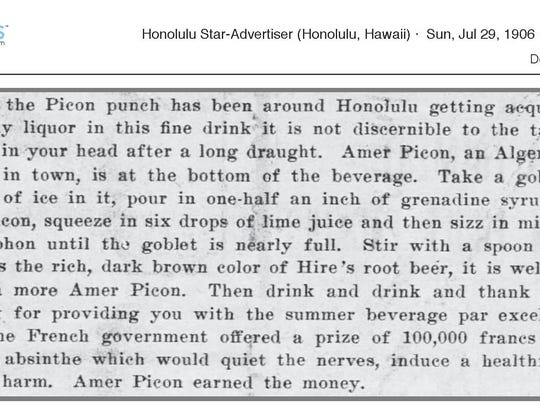 The Honolulu Star-Advertiser tells readers how to make a Picon punch at home in 1906.