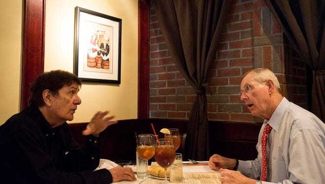 Giants Ring of Honor inductees (right) Tom Coughlin and (left) Ernie Accorsi have lunch at Da Noi restaurant.