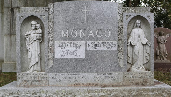 A family marker at Gate of Heaven Cemetery in Hawthorne, Westchester County, marks the final resting place of Anthony Monaco, a 59-year-old transient man who was found dead in the Twaalfskill Creek in Highland on Sept. 30, 2015.