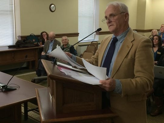 Cleve Loney, member of the Grandparents Protective Society, speaks Monday at the Children, Families, Health and Human Services Interim Committee.