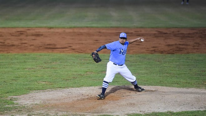 IT&E Rays pitcher Paul Pangelinan, shown in this June 29, file photo, picked up the win in Game 1 of the Guam Major League playoff series featuring the Rays against the Yona Redhawks.