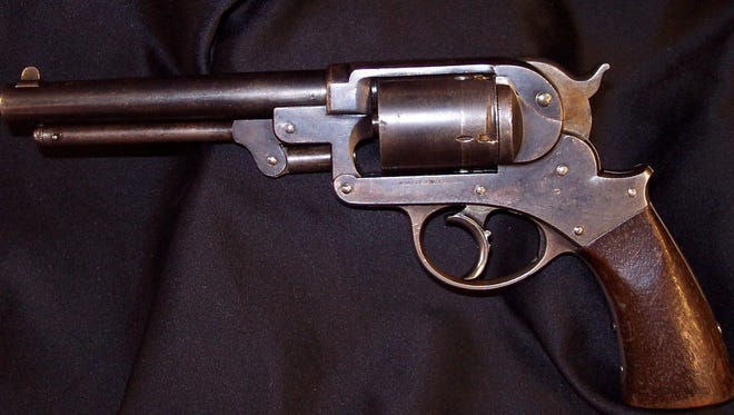 A close-up of one of the Starr Arms Company revolver.