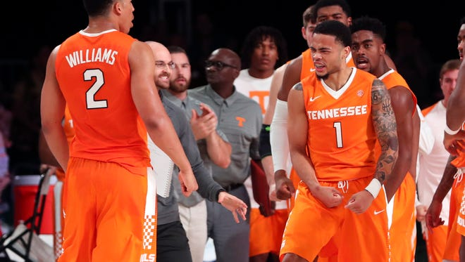 Tennessee guard Lamonte Turner (1) celebrates with forward Grant Williams (2) after scoring during the second half of their game in the Battle 4 Atlantis tournament.