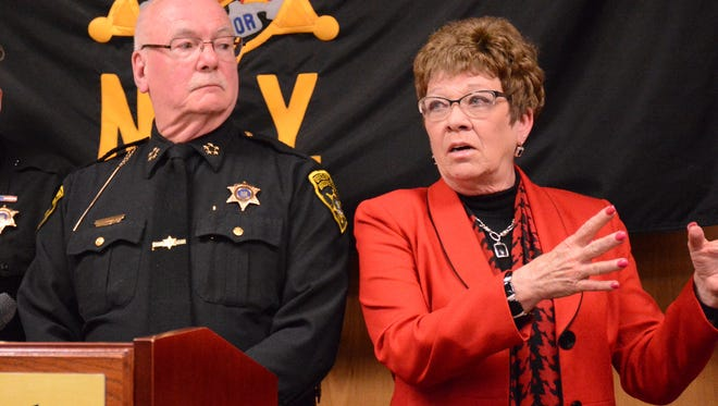 Broome County Executive Debbie Preston describes the Sheriff Assisted Recovery Initiative at a news conference Wednesday. She said the program is another tool to help those suffering from addiction in the community.