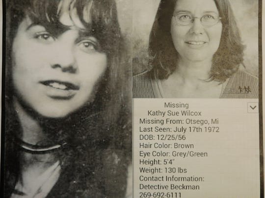 Karen Wilcox, 58, still posts pictures of her sister around Otsego with details of a girl who's been gone 42 years. She would be 57 now.