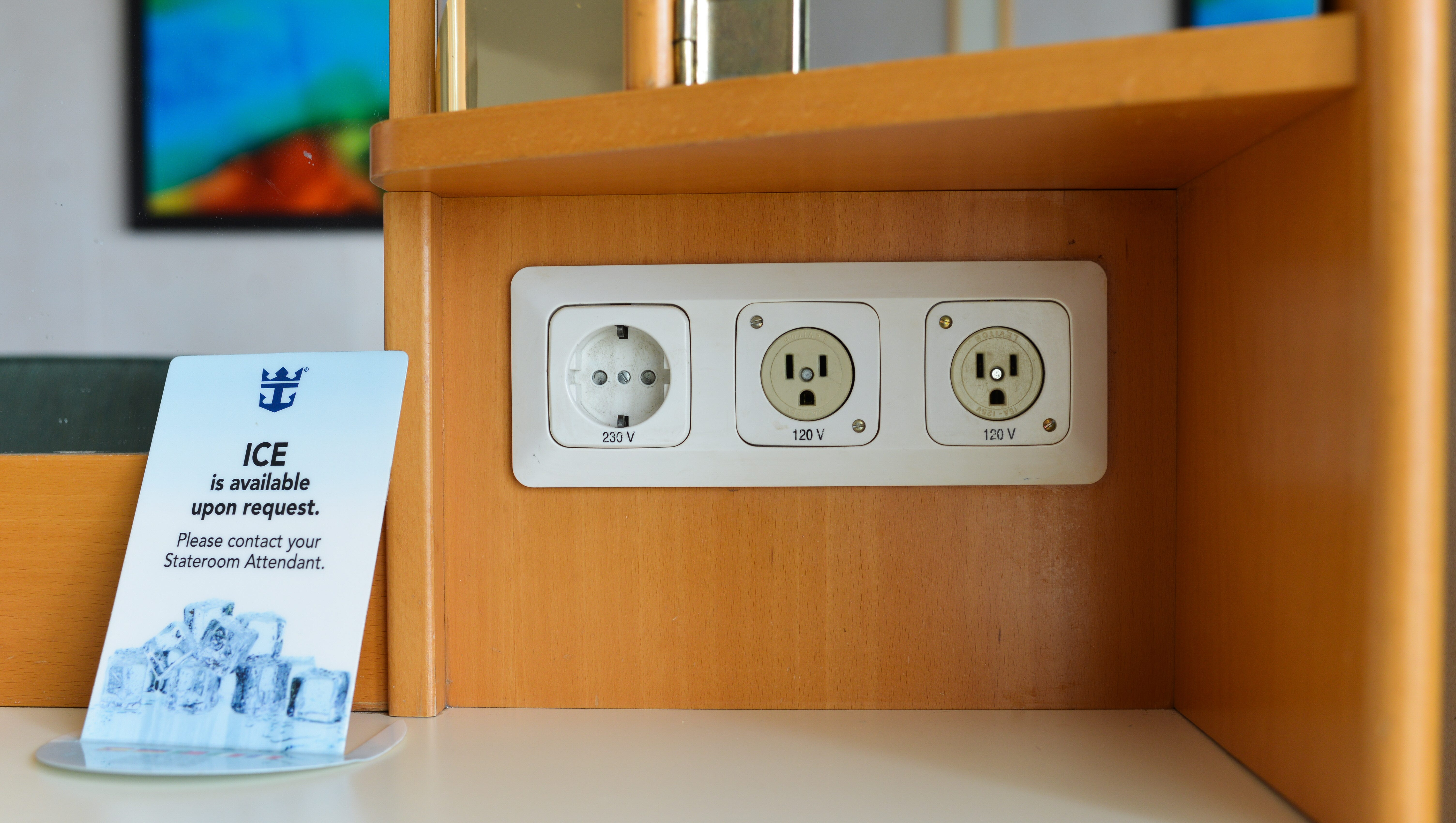 Ocean View cabins have built-in desk areas with U.S.-style plug receptacles as well as a single European-style plug receptacle.