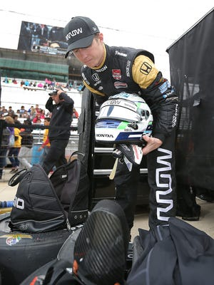 Schmidt Peterson Motorsports driver Ryan Briscoe, filling in for injured James Hinchcliffe, got an hour of practice time in the car for the 99th Indianapolis 500 as he fielded questions from the media Thursday, May 21, 2015, afternoon at the Indianapolis Motor Speedway.