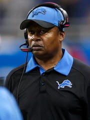 Oct 11, 2015; Detroit, MI, USA; Detroit Lions head coach Jim Caldwell looks on during the fourth quarter against the Arizona Cardinals at Ford Field. The Cardinals won 42-17.