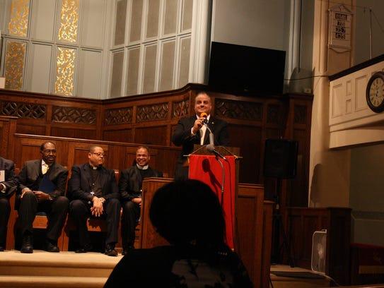 Binghamton Mayor Richard David speaks during the Dr.