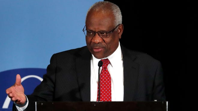 Supreme Court Justice Clarence Thomas speaks at the Bar Association of Metropolitan St. Louis, Friday, May 5, 2017, in St. Louis.