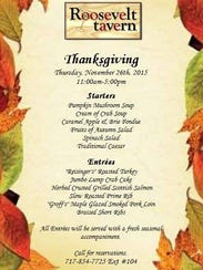 The Roosevelt Tavern's Thanksgiving day menu.