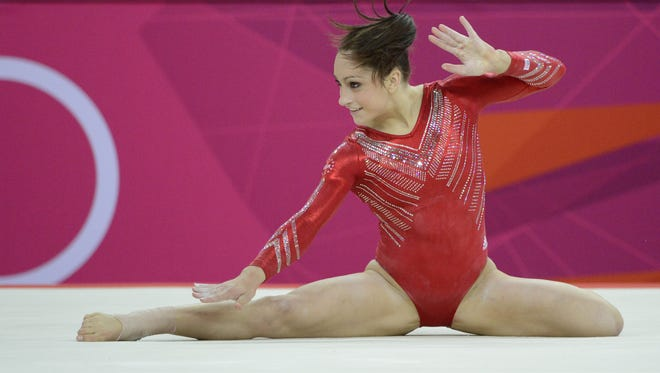 Jordyn Wieber of DeWitt performs her routine on the floor exercise during the women's gymnastics team final at the 2012 Olympic Games in London. Wieber and her Fierce Five teammates won the team gold medal in her final competitive gymnastics event.